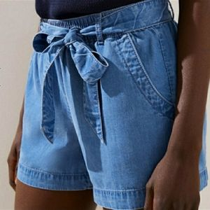 "Loft | Tie Waist Tencel/Denim 3.5"" Inseam Shorts"
